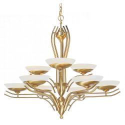 Halogen 9-light Satin Brass Chandelier