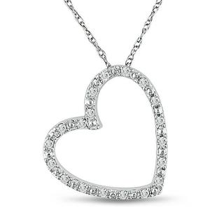 Haylee Jewels 10k White Gold 1/10ct TDW Diamond Heart Necklace (G-H, I2-I3)