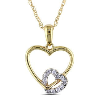 M by Miadora 10k Yellow Gold Diamond Accent Heart Necklace