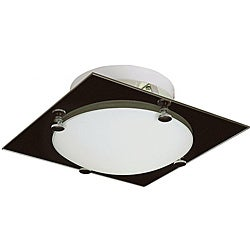 Contemporary Fluorescent 14-inch Square Black/ Frosted Glass Flush Mount Ceiling Light
