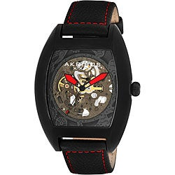 Akribos XXIV Men's Stainless Steel Skeleton Automatic Tonneau Strap Watch