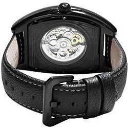 Akribos XXIV Men's Black Stainless Steel Skeleton Automatic Tonneau Strap Watch