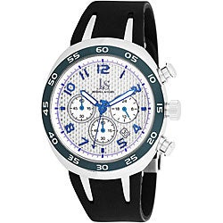 Joshua & Sons Men's Chronograph Steel Carbon Fiber Strap Watch