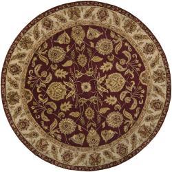 Hand-tufted Mandara Burgundy Oriental Wool Area Rug (7'9 Round)
