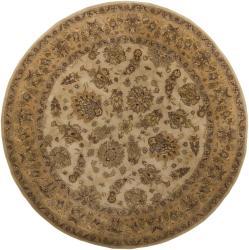 Hand-tufted Mandara Beige Oriental Wool Rug (7'9 Round)