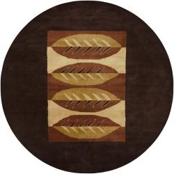 Hand-Tufted Mandara Brown Floral Abstract Wool Rug (7'9 Round)