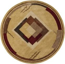 Hand-tufted Mandara Gold Geometric Wool Rug (7'9 Round)