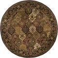 Hand-tufted Mandara Brown Oriental Wool Rug (7'9 Round)
