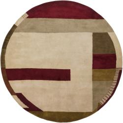"Traditional Hand-Tufted Mandara Brown Geometric Wool Rug (7'9"" Round)"