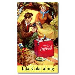 Take Coke Along Vintage Framed Canvas Art