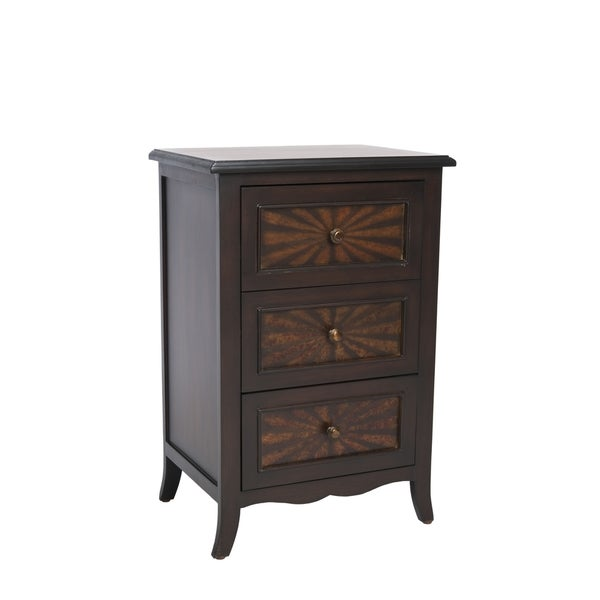 black body with dark cherry finish accents highlights this side table