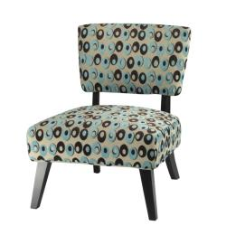 Safavieh Lynn Oval Print Blue/ Brown Lounge Chairs (Set of 2)