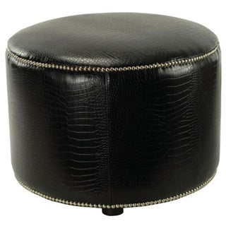 Safavieh Crocodile-print Black Leather Ottoman