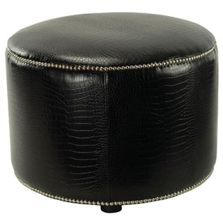 Safavieh Crocodile-print Black Leather Ottoman
