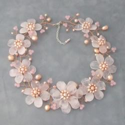 Silver Rose Quartz and Freshwater Pearl Necklace (Thailand)