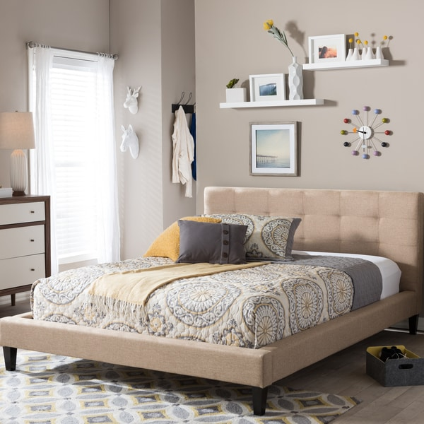 Quincy Natural Linen King Size Platform Bed
