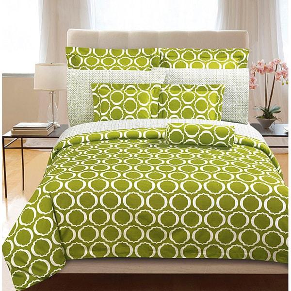 Green Scroll 3-piece Duvet Cover Set