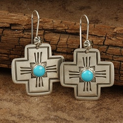 Silver Hand-stamped Turquoise Medium Cross Earrings (Native American)
