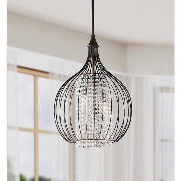 Indoor 3 Light Copper Crystal Pendant Chandelier