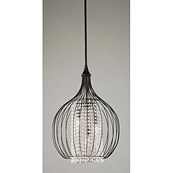 Indoor 3-light Copper/ Crystal Pendant Chandelier