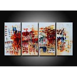 'Dancing in the Wind' 4-piece Gallery-wrapped Hand Painted Canvas Art Set