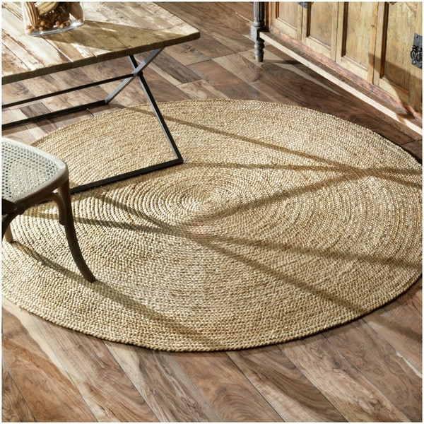 nuLOOM Alexa Eco Natural Fiber Braided Reversible Round Jute Rug (6')