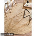 nuLOOM Alexa Eco Natural Fiber Braided Reversible Jute Rug (8' x 10' Oval)