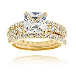 Icz Stonez 18k Gold over Sterling Silver Round-cut Cubic Zirconia Bridal Ring Set