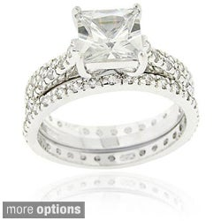 Icz Stonez Sterling Silver 3 1/2 ct. Cubic Zirconia Bridal Ring Set