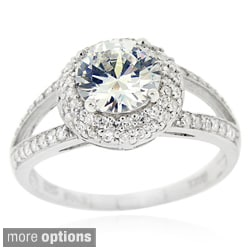 Icz Stonez Sterling Silver Round-cut Cubic Zirconia Bridal Engagement Ring