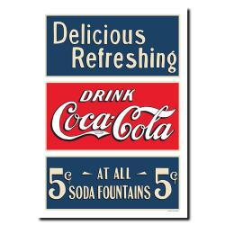 Vintage Soda Fountain Drink Coca-Cola Framed Canvas Art