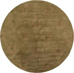 Hand-Tufted Mandara Green Floral New Zealand Wool Rug (7'9 Round)
