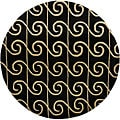 Hand-tufted Mandara Black Geometric Wool Rug (7'9 Round)