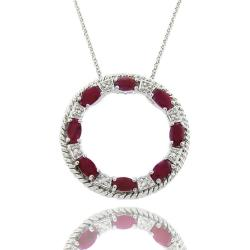 Dolce Giavonna Sterling Silver Ruby and Diamond Accent Circle Necklace