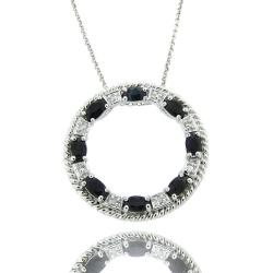 Dolce Giavonna Sterling Silver Sapphire and Diamond Accent Circle Necklace