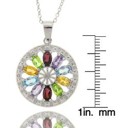 Dolce Giavonna Sterling Silver Multigemstone/ Diamond Accent Medallion Necklace
