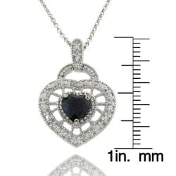 Dolce Giavonna Sterling Silver Sapphire and Diamond Accent Heart Necklace