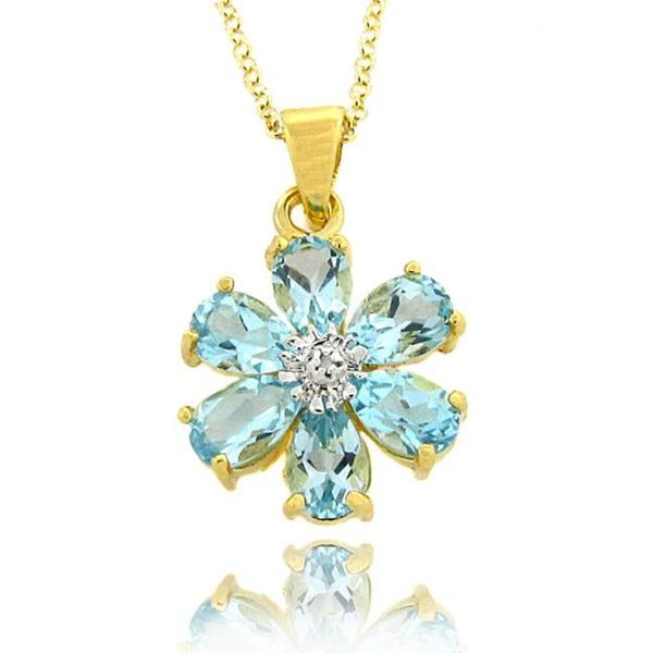 Dolce Giavonna Gold over Silver Blue Topaz and Diamond Accent Flower Necklace