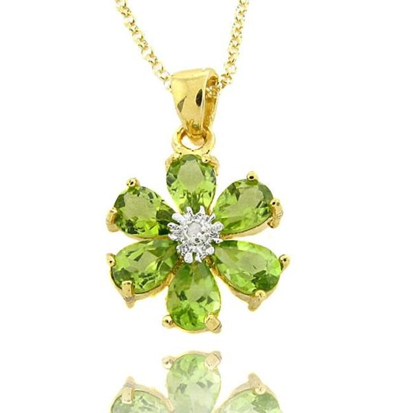 Dolce Giavonna 18k Gold over Silver Peridot and Diamond Accent Flower Necklace