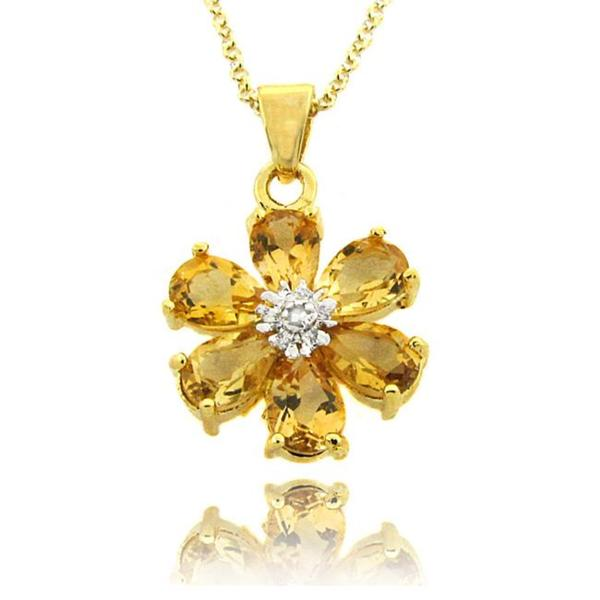 Dolce Giavonna 18k Gold over Silver Citrine and Diamond Accent Flower Necklace