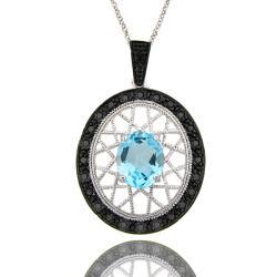 Dolce Giavonna Sterling Silver Blue Topaz and Black Diamond Oval Filigree Necklace