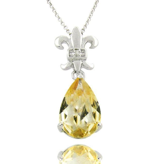 Dolce Giavonna Sterling Silver Citrine and Diamond Accent Fleur De Lis Necklace