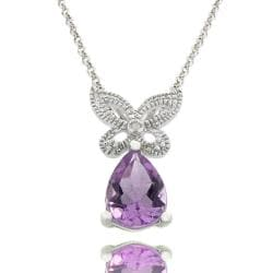 Dolce Giavonna Sterling Silver Amethyst and Diamond Accent Butterfly Necklace