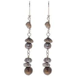 Misha Curtis Sterling Silver Pearl Dangle Earrings