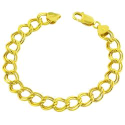 Fremada 14k Gold over Sterling Silver 7.5-inch Double Link Bracelet ( 9 mm)