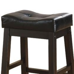 Hadden Bicast Leather Tufted Saddle Counter Stools Set Of