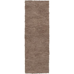 Hand-woven Tigris Brown Wool Rug (2'6 x 8')