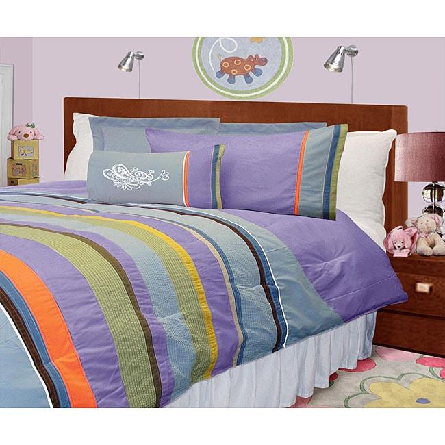 Lilac Microfiber 4-piece Twin-size Mini Comforter Set