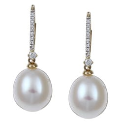 Kabella 14k Yellow Gold Pearl and 1/10ct TDW Diamond Earrings (9-10mm) (I-J, I2-I3)