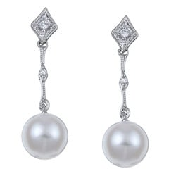 Kabella 14k White Gold Pearl and Diamond Accent Earrings (6-7mm)